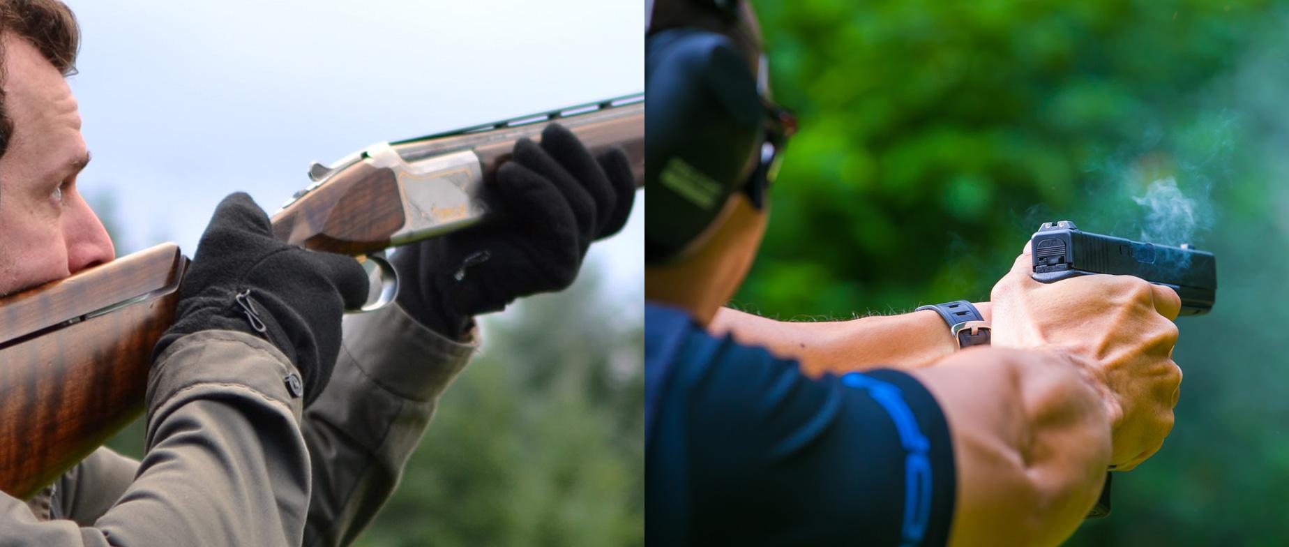 Agyaggalamb + pisztoly lövészet olimpiai trap és skeet pályán az erdőben
